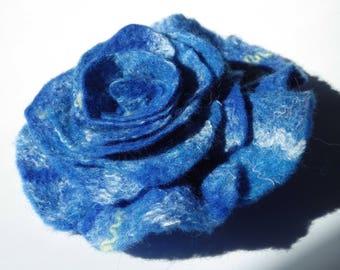 ROSE BROOCH, Felted flower brooch, Flower brooch, Blue Rose, Merino felted Jewelry, Jewelry handmade, Lightweight brooch