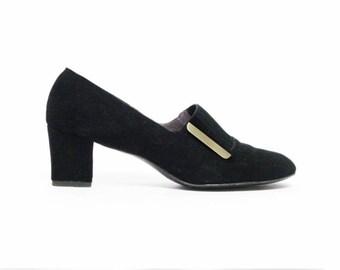 vintage 60s Florsheim Serenades black suede leather heels retro shoes MCM pumps  sz 7