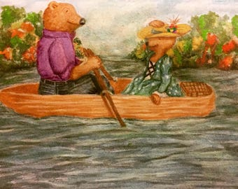 Boat ride to a Picnic//Artwork for nursery//watercolor painting