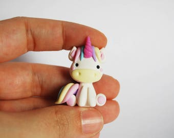 Magnet little Corny Unicorn in fimo Horn Fuchsia glitter