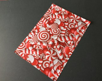50 10x13 CANDY CANES  Designer Poly Mailers Red Christmas Envelopes Shipping Bags