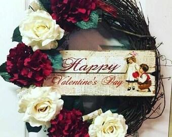 Vintage Valentines Decor, Vintage Valentines Wreath, Vintage Valentines Day Decor, Valentines Wreath, Valentines Day Wreath, Valentines Day