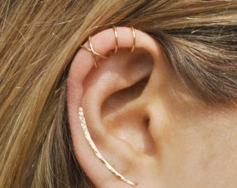 ON SALE Set of 3 - Ear Climber, Ear Cuff, Double Ear Cuff, Earring Climbers 30mm, Criss Cross Ear Cuff, Climber Earrings, Ear Crawlers, Earr