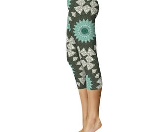 Leggings Printed Capris - Aquamarine and Forest Green Mandala Pattern Boho Yoga Pants