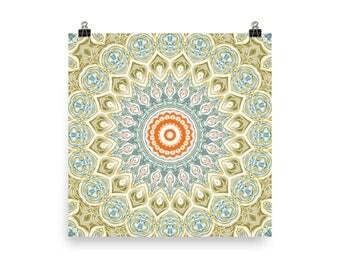 Wall Art Green and Orange Mandala Print, Decorative Wall Art, Abstract Poster Prints