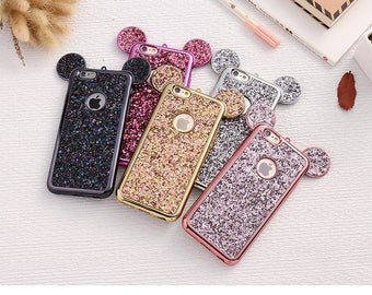 Mickey iPhone case, Disney phone case, Mouse ears iPhone case, Disney iPhone case, Glitter iPhone case, Bling iPhone case, Mickey phone case