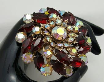 Red And Aurora Borealis Rhinestone Pin