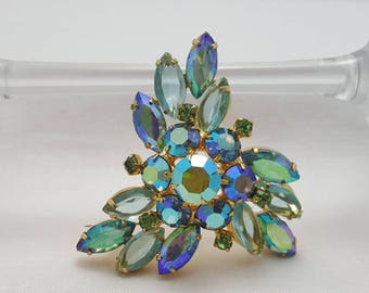 Green & Blue Iridescent Rhinestone Pin