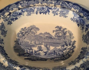 English Blue and White Toile Bowl