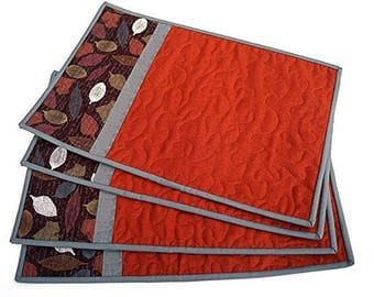 Orange and Brown Quilted Place Mats Set of Four in Fall Leaves