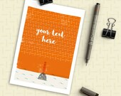 Custom Greeting Card with Any Text, Red Lighthouse, Your text here, Personalized Greeting Cards, illustration card, Printable greeting card