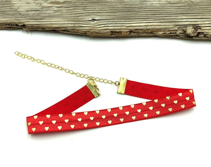SAINT VALENTINE: red and gold heart elastic choker