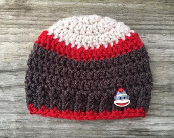 Crochet Sock Monkey Hat - Crochet Beanie - Child Hat - Boy Hat - Newborn - Toddler - Handmade - Sock Monkey Button