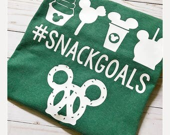 Snack Goals Tee Shirt - Disney Vacation - For Family - Vinyl - Comfort Color - Mickey Bar - Dole Whip