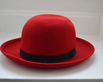Vintage 1980's Red Wool Hat - Ann Taylor