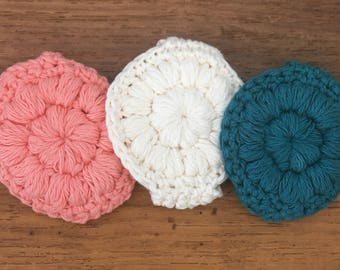 Handmade reusable crochet face scrubbies-crochet makeup removers-circle wash cloth-environmentaly friendly-washable-teal-pink-white