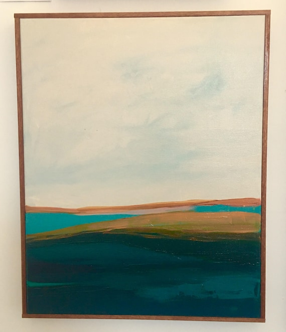Abstract Landscape Original Painting turquoise and orange