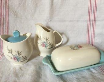 Vintage Steubenville Fairlane Butter Dish, Sugar Bowl, Creamer Kitchen Set, Mid Century, Cottage Decor