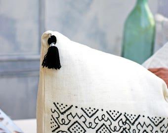 Block Printed Linen Decorative Pillow | %100 Cotton Pillow