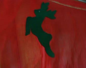 Vintage 40's, 50's Red Christmas Apron with Green Reindeer