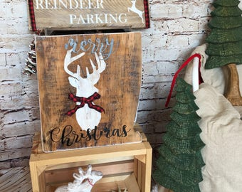 Deer christmas sign, reindeer christmas sign, deer silhouette rustic wood wall sign, up on the house top holiday sign, rustic christmas