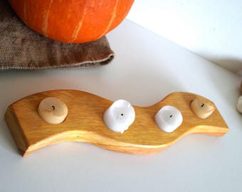 Swedish wooden candle holder Handmade natural wood decor Farmhouse decor Natural wood candlelabra Scandinavian Design Rustic Candleholder