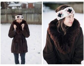 Vintage Suede Faux Fur Coat