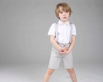 Bretelles uni satin enfant tissu large 2,5cm cortège réglable costume garçon