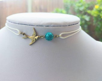 Gold sparrow bead pendant leather cord choker