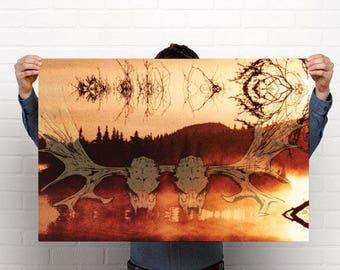 Digital art print of atmospheric black metal, on high quality paper, print of moose skull, skull and the forest spirit, black metal skull