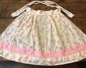 60s Apron, Pink Half Apron, White Pinstriped, Flowers, Pears (A162)