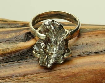 Meteorite Silver Ring, Genuine Meteor, Sterling Silver Band, Prong Set Astroid Ring