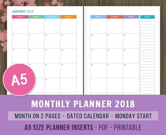 Monthly Planner 2018 Monday Start Printable Planner Monthly