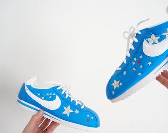 Nike Cortez blue motif hand embroidered stars