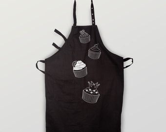"Bib Apron ""Cupcakes"" made of organic cotton"