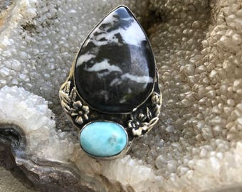 Double stone sterling silver ring