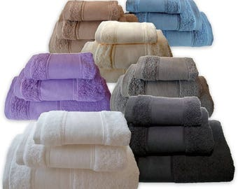 5* Top Quality Plain Bath Towels Set - Ref. Finera - Bath Sheet, Hand Towel, Guest Towel