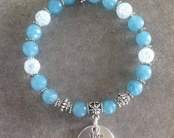 Please Bracelet energized, well-being, spirituality, purity, meditation blue Crackle rock crystal and blue sponge quartz, Medal
