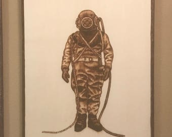 Vintage Diver wall art plaque