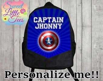 Personalized Captain America backpack/blaze shirt backpack/boys backpack/personalized boys backpack/ black backpack/B111