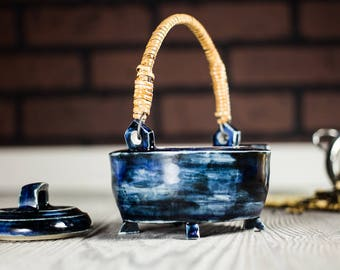 Teapot, Blue ceramic tea kettle, Tea infuser