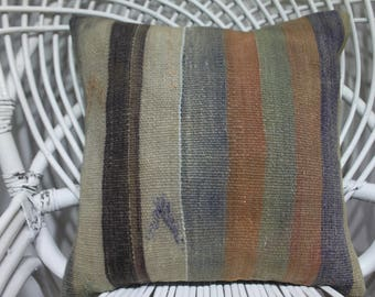 bohemian throw pillows 16x16 pale striped kilim pillow 16x16 anatolian Turkey kilim pillow 16x16 decorative pillows for couch 16x16 3914