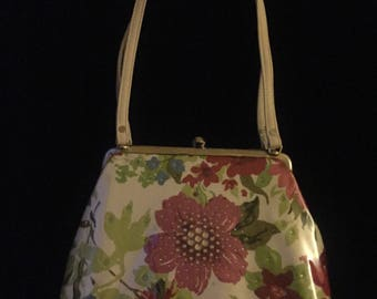 M. Andonia handbag  shoulder bag white leather coated floral red vintage fabric Swarovski crystal new without tags 50's 80's 90's