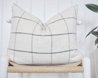16X20 Cream Plaid Stripe Pillow Cover