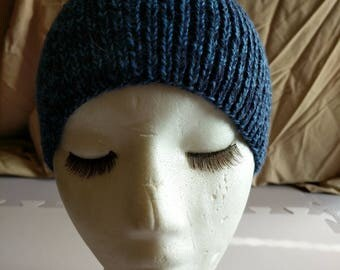 Blue Tweed Beanie