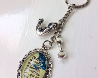 Dr Seuss Gym Biceps and Dumbbell 'today is your day, your mountain is waiting so get on your way' Motivation and Inspiration Keyring
