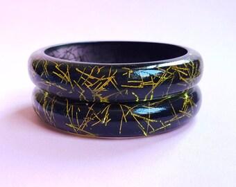 Grace Lucite confetti bracelet - Chartreuse & black