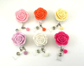 Full Bloom Rose with Charm-Designer Badges-Flower Badge-Nurse Badge Reel-RN Badge Reel-Flower Badge Holder-Nurse Badge Holder-RN-RN Jewelry