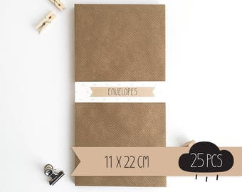 Envelope DL / kraft brown / 11 x 22 cm / 25 pieces
