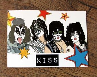Kiss Postcard - Illustrated Postcard - Stars, Glam rock, Pop art,
